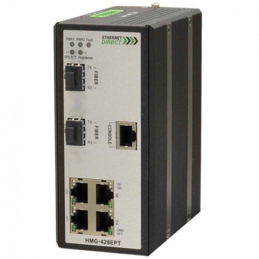 Switch công nghiệp 4-port + 2G SFP Gigabit Managed HMG-428EPT