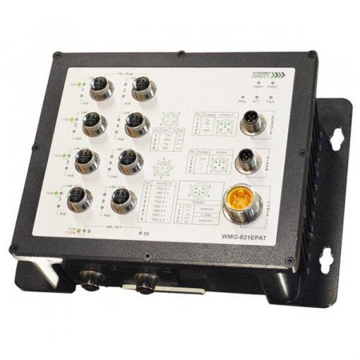 Switch công nghiệp 10-port IP67 EN 50155 Managed với 8 PoE ports WMG-821EPAT