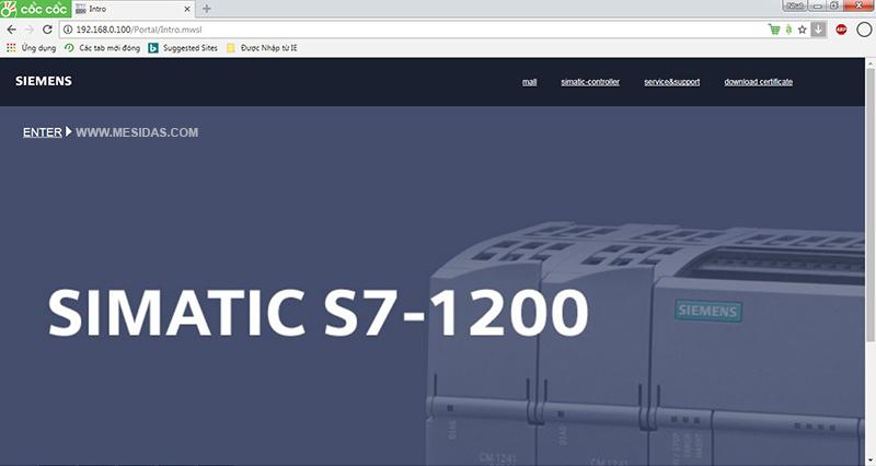 Giao diện trang chủ web của PLC S7-1200