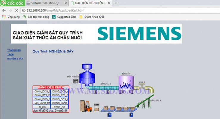Lập trình điều khiển & giám sát dây chuyền sản xuất thức ăn cho vật nuôi với PLC S7-1200 + WinCC + WebServer