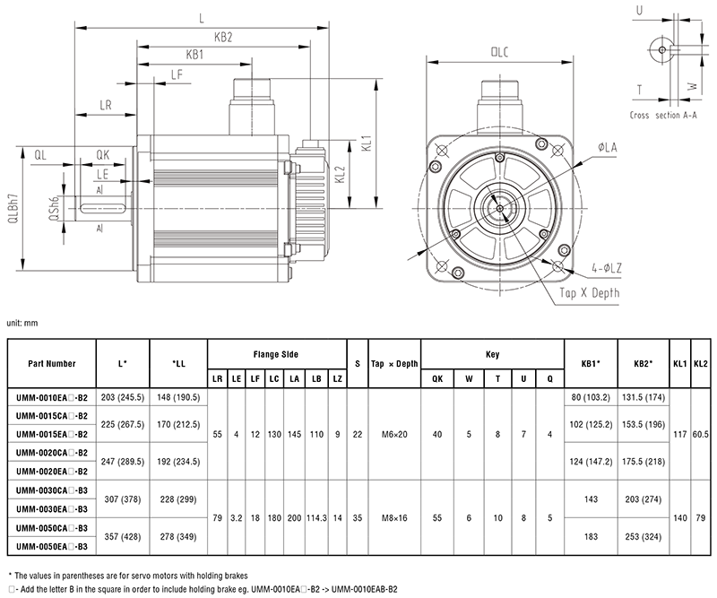 Kích thước động cơ Servo UMM-B2 và UMM-B3