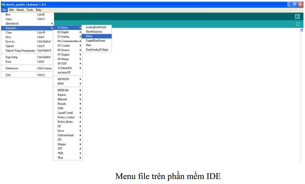 Menu file trên phần mềm IDE