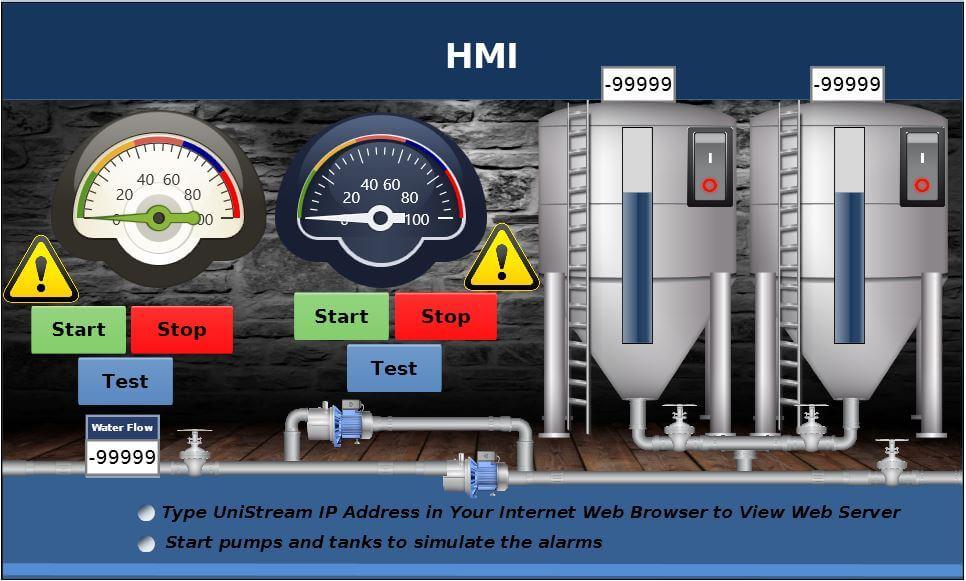 Giao diện HMI vận hành & giám sát máy bơm công nghiệp