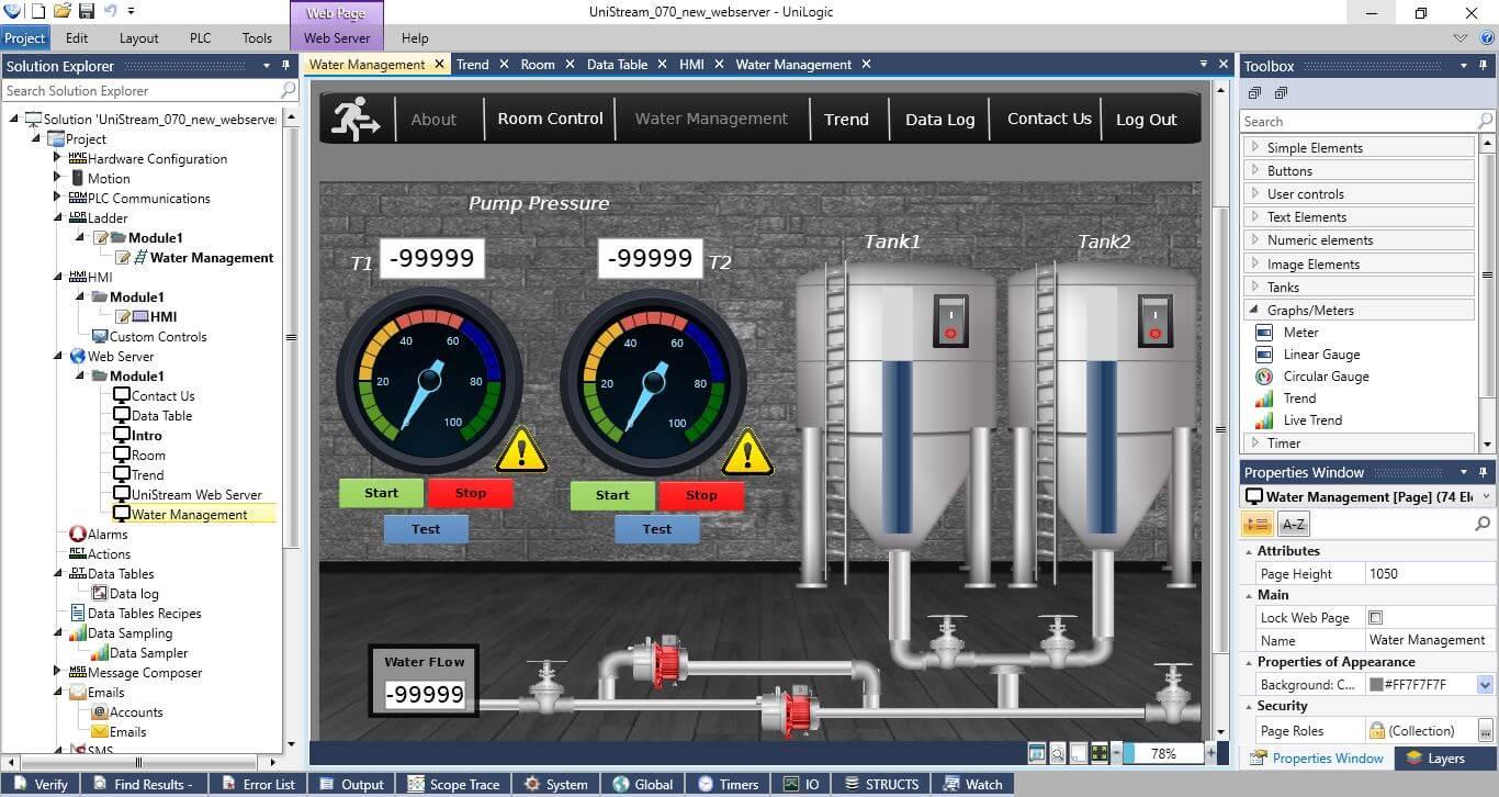 Giao diện phần mềm thiết kế Web Server