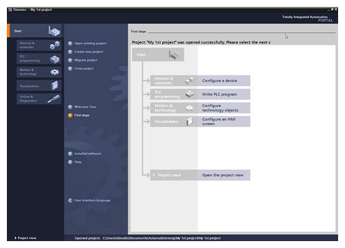Giao diện phần mềm SIMATIC STEP 7 Professional (TIA Portal)