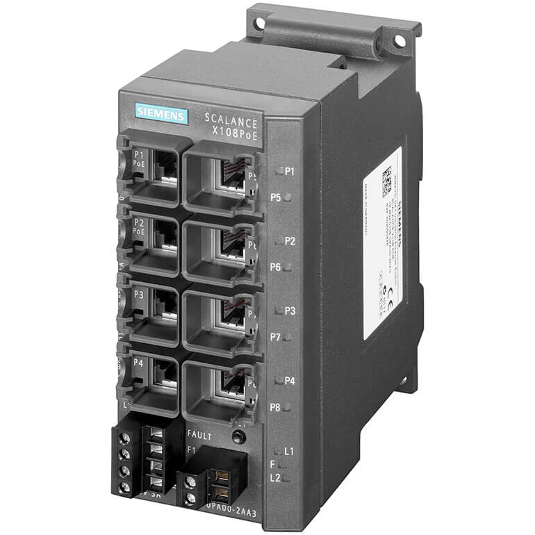 Switch công nghiệp 8 cổng RJ45 10/100 Mbit/s (2 cổng PoE) SCALANCE X108PoE Unmanaged & Layer 2 6GK5108-0PA00-2AA3