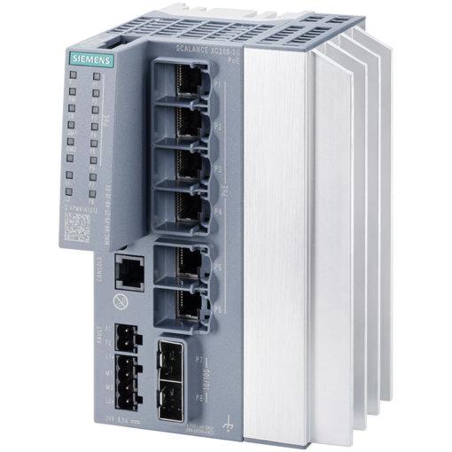 Switch công nghiệp 6 cổng PoE RJ45 10/100/1000 Mbps + 2 cổng SFP+ 1000/10000 Mbps + 1 cổng quản lý SCALANCE XC206-2G PoE Managed & Layer 2 6GK5206-2RS00-2AC2
