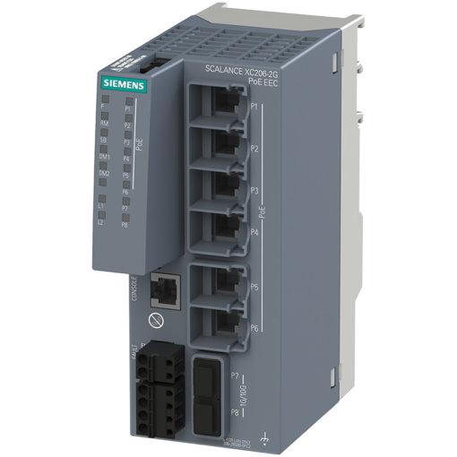 Switch công nghiệp 6 port PoE RJ45 10/100/1000 Mbps + 2 port SFP+ 1000/10000 Mbps + 1 port quản lý SCALANCE XC206-2G PoE EEC Managed & Layer 2 6GK5206-2RS00-5FC2
