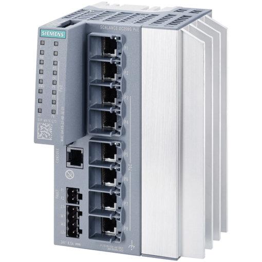 Switch công nghiệp 8 cổng RJ45 10/100/1000 Mbps ( 6 cổng PoE) + 1 cổng quản lý SCALANCE XC208G PoE Managed & Layer 2 6GK5208-0RA00-2AC2