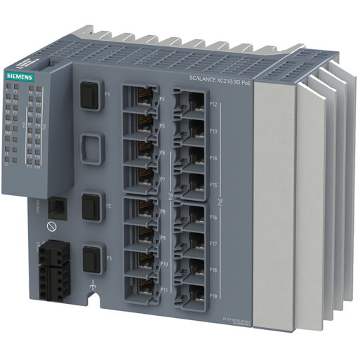 Switch công nghiệp 16 cổng RJ45 10/100/1000 Mbps (14 cổng PoE) + 2 cổng SFP+ 1000/10000 Mbps + 1 cổng SFP 1000 Mbps + 1 cổng quản lý SCALANCE XC216-3G PoE Managed & Layer 2 6GK5216-3RS00-2AC2